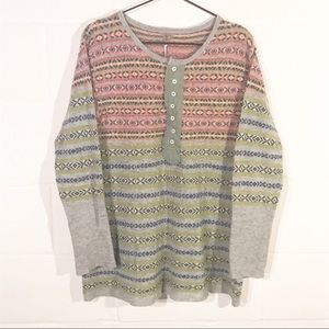 FP Free People Vintage Knit Sweater Wool Henley